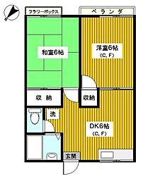 神奈川県横浜市神奈川区羽沢南2丁目の賃貸アパートの間取り
