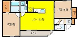 兵庫県神戸市東灘区岡本9丁目の賃貸アパートの間取り