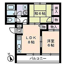 ファミーユコート恩田B棟[0202号室]の間取り