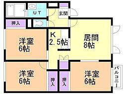 ドエルプラザ上野幌A 1階3LDKの間取り