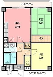 大阪府八尾市荘内町1丁目の賃貸マンションの間取り