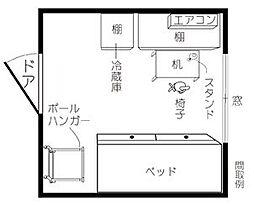 ドミトリー東小金井(学生専用家具家電食事付)[2階]の間取り
