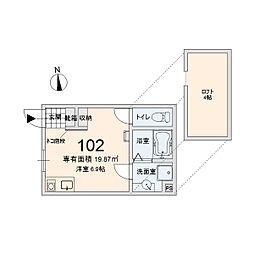 ル・シャ東船橋[102号室]の間取り