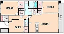 ディアクレスト南桜塚[405号室]の間取り