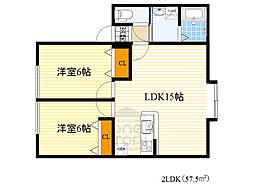おおさか東線 城北公園通駅 徒歩3分の賃貸アパート 2階2LDKの間取り