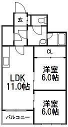 コーポエクセルショール[2階]の間取り