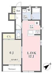 JR京浜東北・根岸線 港南台駅 徒歩17分の賃貸アパート 1階1LDKの間取り