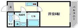 グランパシフィック恵美須西 3階1Kの間取り