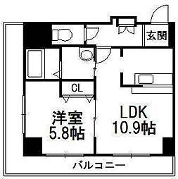 北海道札幌市中央区南六条東2丁目の賃貸マンションの間取り