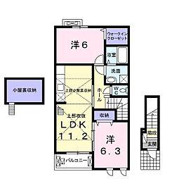 ソレイユ千代田[2階]の間取り