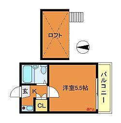 レオパレス田無第2[2階]の間取り