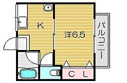 大阪府茨木市下中条町の賃貸アパートの間取り