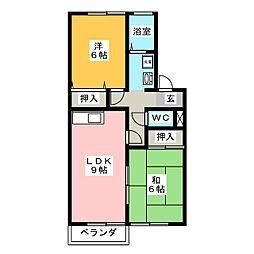 セジュールミキB[2階]の間取り