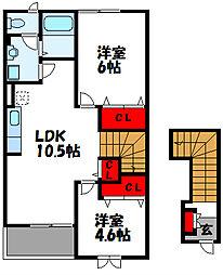 福岡県古賀市花見東6丁目の賃貸アパートの間取り