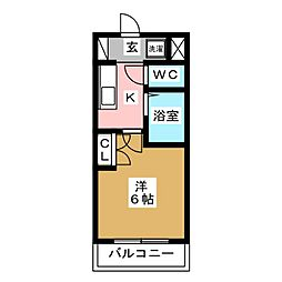 Asaka Plaza A 2階1Kの間取り