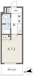 西田辺駅 徒歩2分7階Fの間取り画像