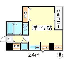 デベロップ 4階ワンルームの間取り