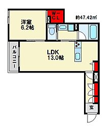 JR鹿児島本線 大野城駅 徒歩6分の賃貸マンション 1階1LDKの間取り