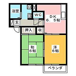 メゾン・ウエストリバーIIIA棟[2階]の間取り
