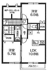 コンフォートパストラルA[2階]の間取り