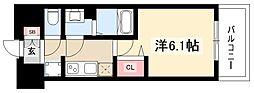 プレサンスTHEMOTOYAMA 8階1Kの間取り