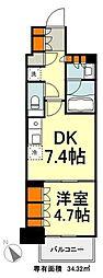 東京メトロ有楽町線 豊洲駅 徒歩9分の賃貸マンション 13階1DKの間取り
