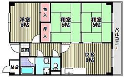 大阪府河内長野市寿町の賃貸マンションの間取り