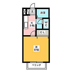 KEコーポ古雅[2階]の間取り