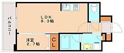 ヴィラージュ博多駅南 5階1LDKの間取り