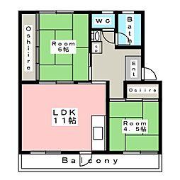 ルナルーチェ前浜[1階]の間取り