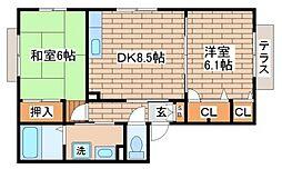 兵庫県神戸市須磨区離宮前町1丁目の賃貸アパートの間取り