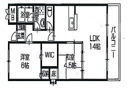 兵庫県姫路市飾磨区英賀清水町1丁目の賃貸マンションの間取り