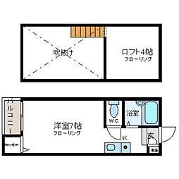 福岡県福岡市博多区堅粕5丁目の賃貸アパートの間取り