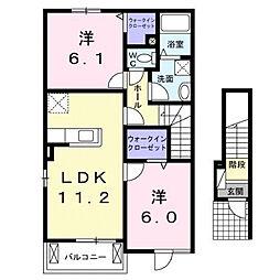 コーポサンスカイC[2階]の間取り