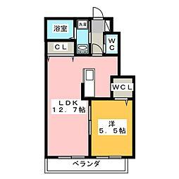 Casa Carina 1階1LDKの間取り