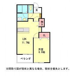 愛知県一宮市浅井町西海戸字西屋敷の賃貸アパートの間取り