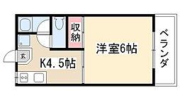 愛知県名古屋市天白区元八事5丁目の賃貸アパートの間取り