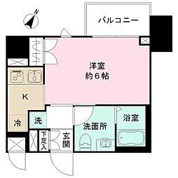 JR中央線 豊田駅 徒歩2分の賃貸マンション 5階ワンルームの間取り