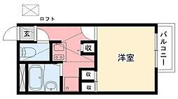兵庫県西宮市神呪町の賃貸アパートの間取り