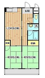 レジデントヒラノ[2階]の間取り