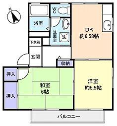 クレール田喜野井B[1階]の間取り