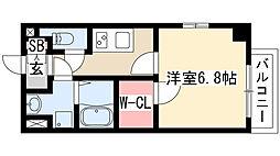 エステムプラザ名古屋丸の内 5階1Kの間取り