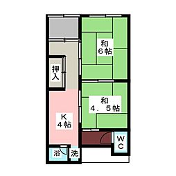 コーポ神納[1階]の間取り