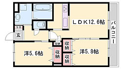 JR姫新線 余部駅 徒歩27分の賃貸アパート 1階2LDKの間取り