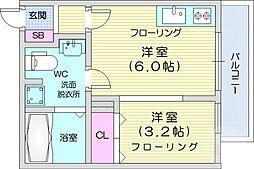JR仙山線 国見駅 徒歩1分の賃貸アパート 2階1DKの間取り