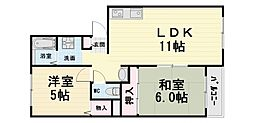 大阪府堺市西区鳳西町1丁の賃貸マンションの間取り