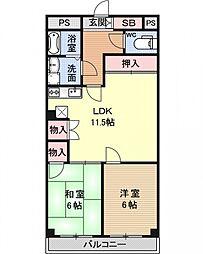東野第2グリーンハイツ山科[202号室号室]の間取り