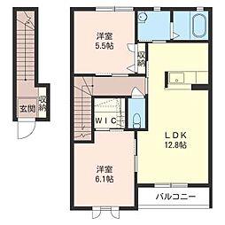 マロンフィールド A[2階]の間取り
