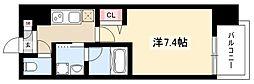 ヴィークブライト名古屋新栄 8階1Kの間取り