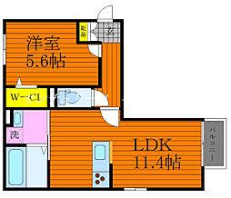 JR宇野線 大元駅 徒歩36分の賃貸アパート 3階1LDKの間取り